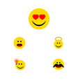 Flat icon emoji set of cheerful love angel and