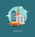 flat travel banner with urban landscape vector image vector image