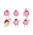 glazed donuts cartoon characters collection funny vector image