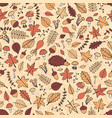 hand drawn seamless pattern with autumn leaves vector image vector image