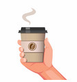 hand holding disposable coffee cup symbol vector image vector image