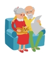 Happy senior man woman family sitting on the sofa vector image
