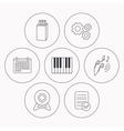 Headphones web camera and USB flash icons vector image