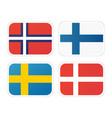 icons of scandinavian flags isolated on white vector image vector image