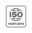 iso 14001 2015 certified symbol 14001 2015 vector image