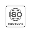 iso 14001 2015 certified symbol iso 14001 2015 vector image vector image