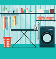 laundry room with washing machine and ironing vector image vector image