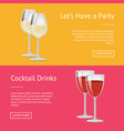 lets have party cocktail drinks set web posters vector image vector image