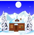 Lodge in wood in winter vector image vector image