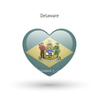 Love Delaware state symbol Heart flag icon vector image vector image