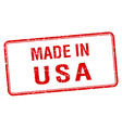 made in usa red square isolated stamp vector image vector image