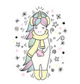 magic unicorn with winter accessories winter text vector image vector image