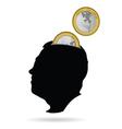 man head as a piggy bank vector image vector image