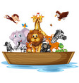 many wild animals on rowboat vector image vector image