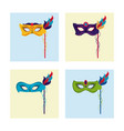 mardi gras masks icons vector image vector image