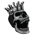 monochromatic skull with crown on white vector image vector image