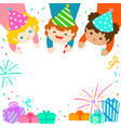 multicultural cute kids draw invitation for kids vector image vector image