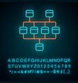 network diagram neon light icon cluster diagram vector image vector image