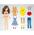 Paper Brunette Long Hair Doll vector image vector image