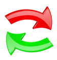 red and green arrows set of 3d icons vector image