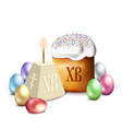 russian easter cake cottage cheese colorful eggs vector image vector image