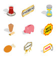 sale of meat icons set isometric style vector image