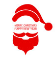 santa beard and hat on christmas greetings card vector image