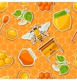 Seamless pattern with honey and bee stickers vector image