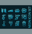 set car wash blue glowing neon icons vector image