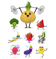 set cute healthy vegetables sports fruit vector image vector image