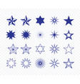 set different blue star shape vector image vector image