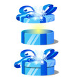 set of ornate gift boxes with blue lids decorated vector image vector image