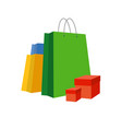 Set of simple bright paper shopping bags and boxes