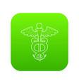sign medicine icon green vector image vector image