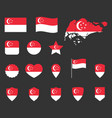 singapore flag icons set republic singapore vector image vector image