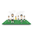 soccer players team stand on perspective field vector image