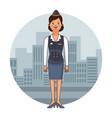 stewardess woman cartoon vector image
