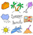 summer holiday element doodle colorful vector image