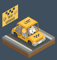 taxi car trip yellow cab transportation city urban vector image