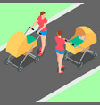two identical women with strollers are walking in vector image vector image
