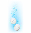 two pills in water on white for creative design vector image vector image