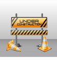 under construction barrier with road cones vector image vector image