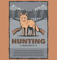 vintage poster for fox hunt vector image
