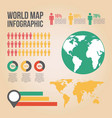 world map infographic chart people graphs vector image vector image