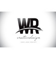 wr w r letter logo design with swoosh and black vector image vector image