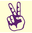 Vintage hand victory sign vector image
