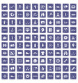 100 sport journalist icons set grunge sapphire vector image vector image