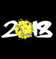 abstract number 2018 and tennis ball vector image vector image