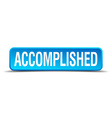 accomplished blue 3d realistic square isolated vector image vector image