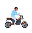 african man riding electric scooter over white vector image vector image